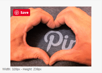 add pinterest image hover save button big