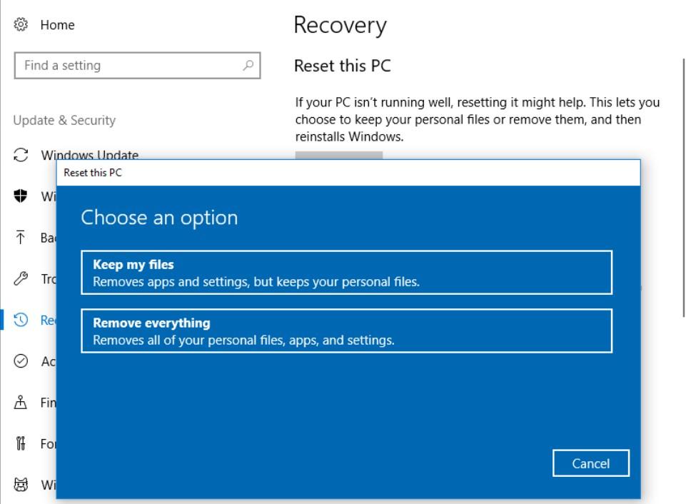 reset your laptop - keep files