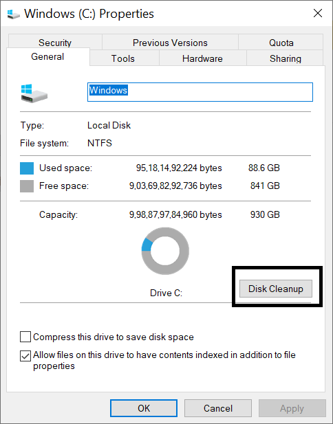 steps to run disc cleanup - windows