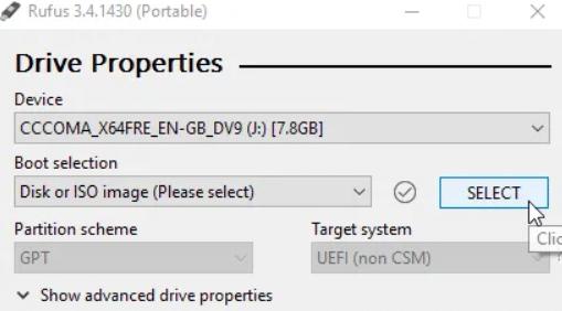 Rufus software bootable USB Windows 10 installation