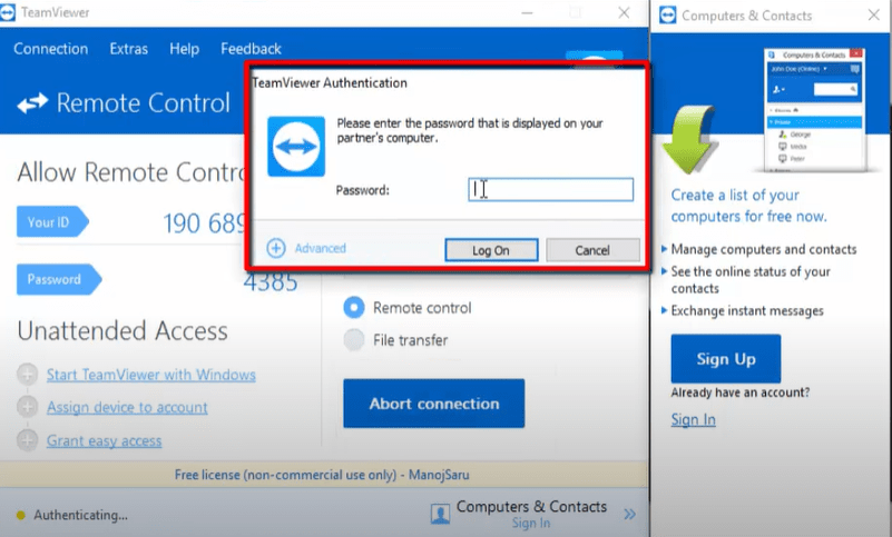 how to access remote desktop using teamviewer