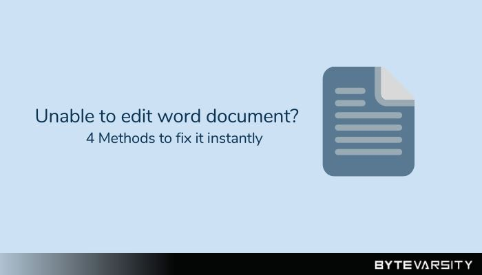 Unable to Edit Word Document