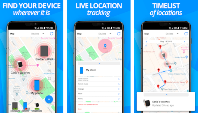 Find my device allows you to check real-time location of your phone.