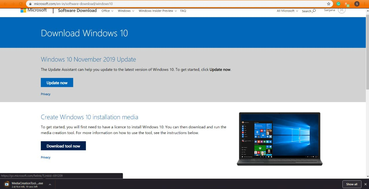 how to install Windows 10 in laptop using usb