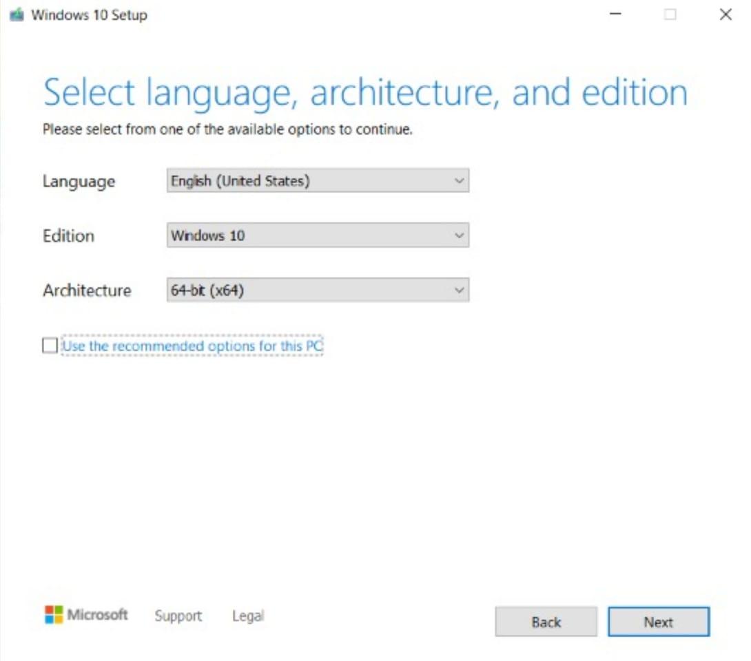 Windows 10 setup 2 using USB