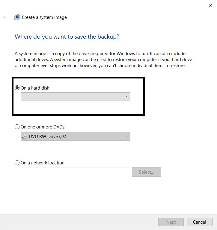Save backup data of Windows 10 in external drive