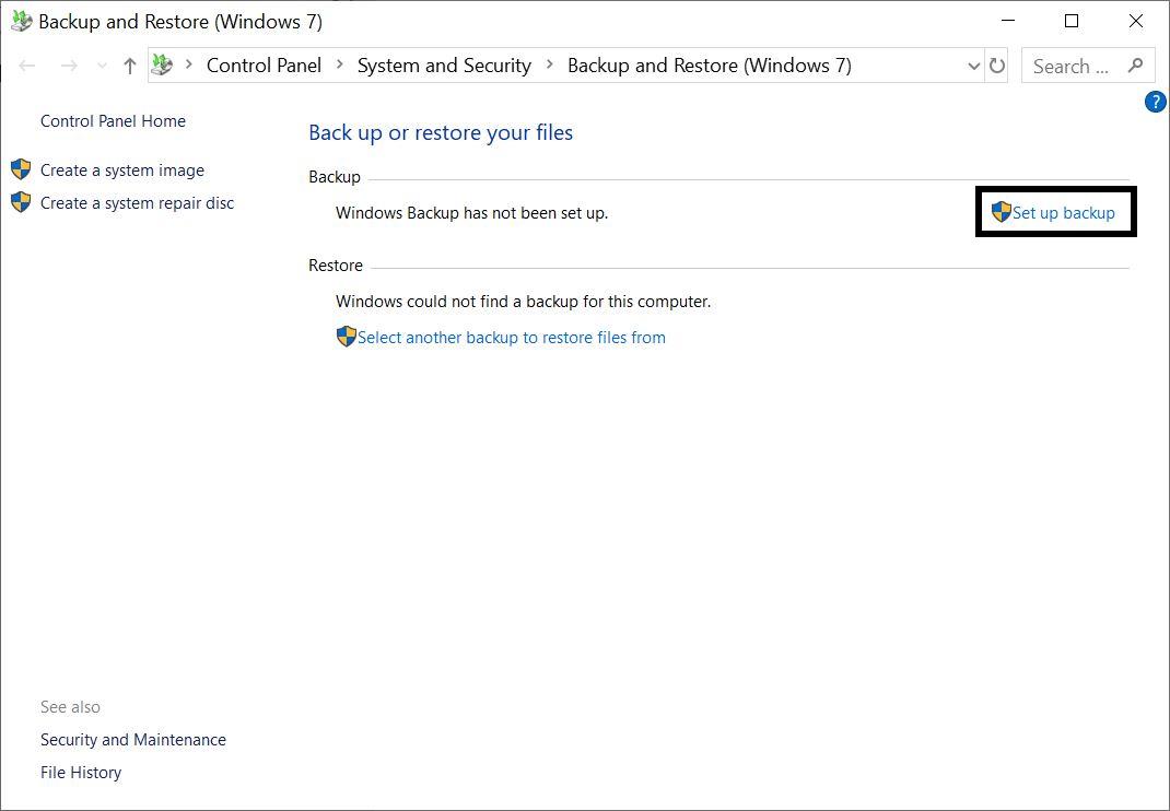 Set up Backup in Windows Computer using inbuilt method