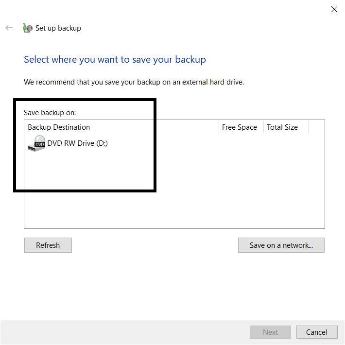 Save your backup in Windows using inbuilt backup method