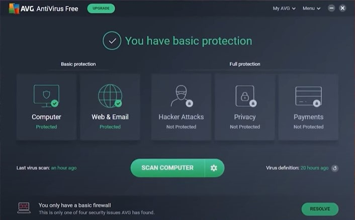 AVG- helps prevent malware on suspicious links, email attachments and downloads