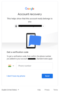 recovery with mobile number gmail
