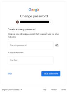 create new password gmail