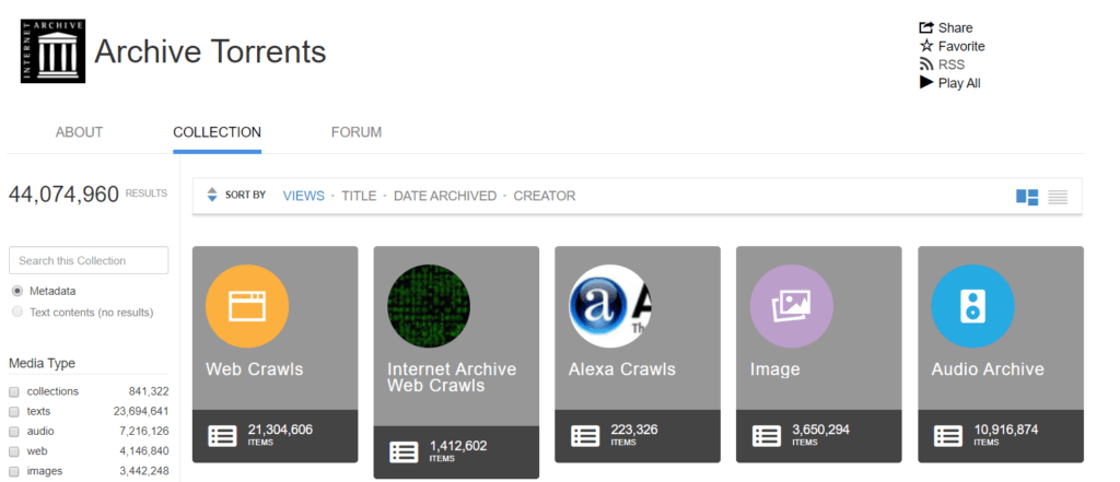 Archive torrents for downloading public domain movies, books, images and audio