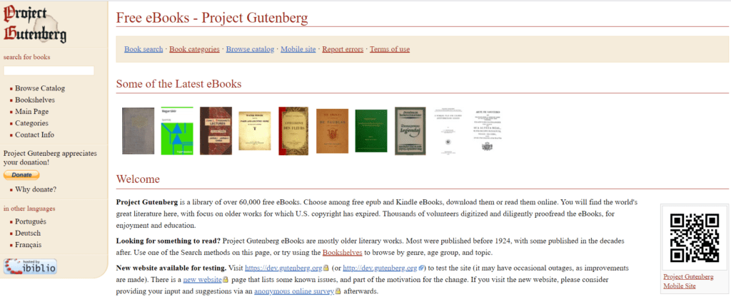 Project Gutenberg to download books free