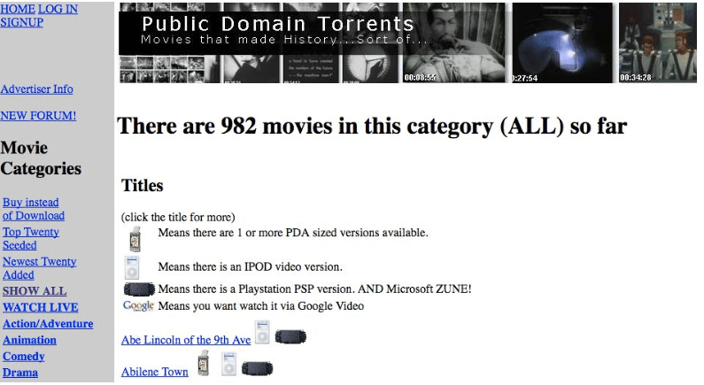 public domain torrents to download movies free
