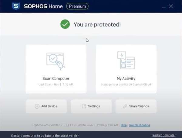 Sophos Antivirus- Good for personal and business usage