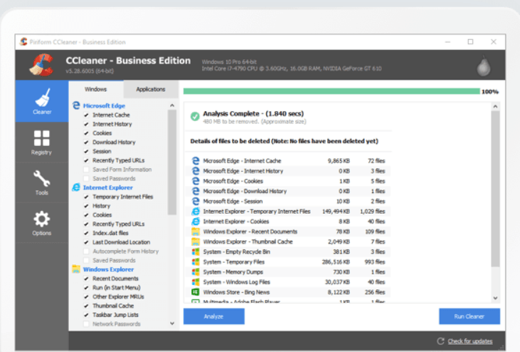 Organize Computer Files & Folders by removing unused files with CCleaner