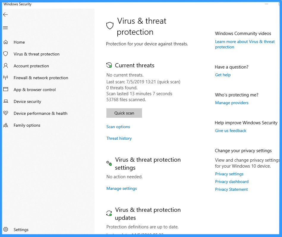 Windows 10 comes with Windows Defender Antivirus which scans virus & improves PC performance