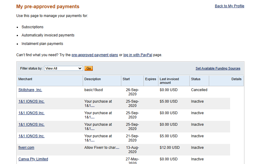 PayPal automatic recurring payment management dashboard