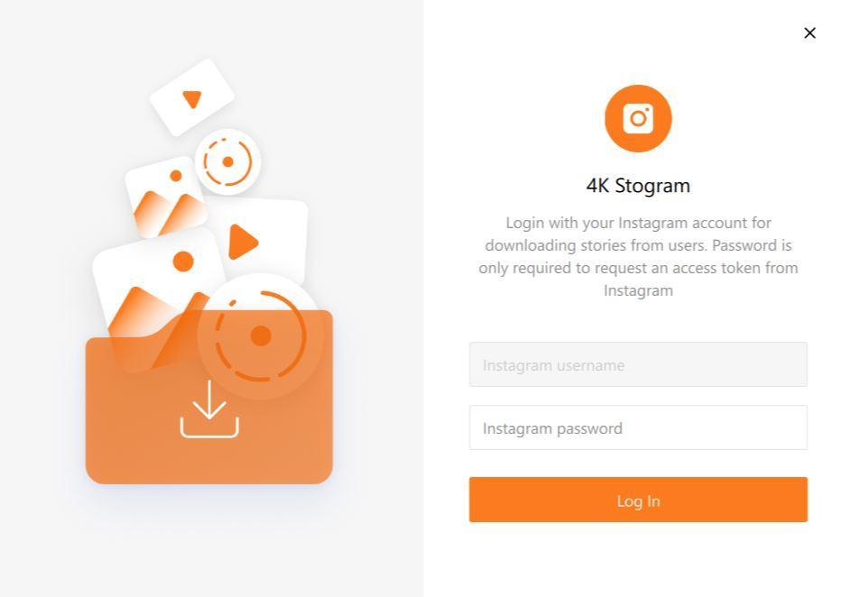 4K Stogram login page