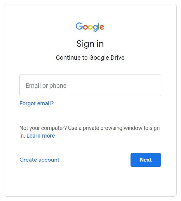 Google drive login