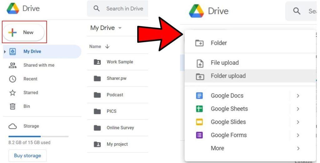 New folder Upload Google Drive