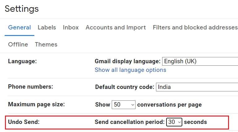 Undo option in Gmail settings