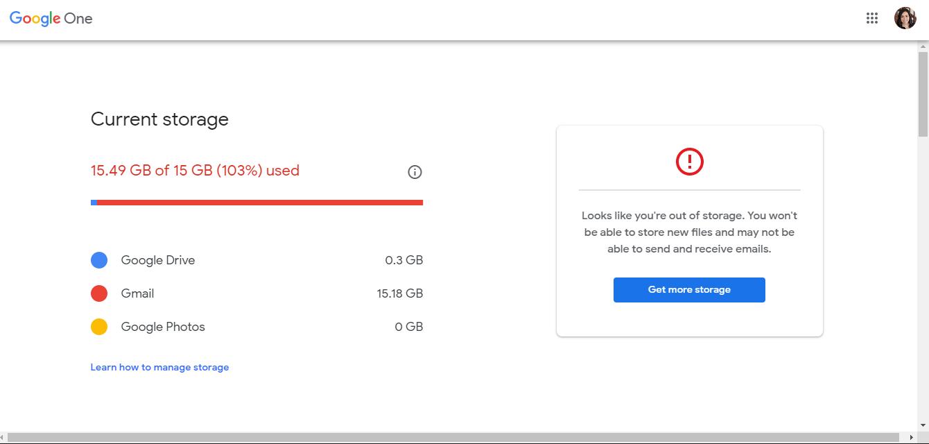 Google data storage limit exhausted