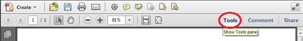 Tools bar - Adobe Acrobat