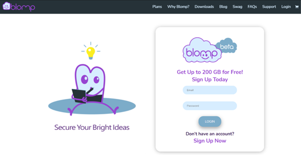 Blomp free cloud storage provides 100 GB to 200 GB free cloud storage
