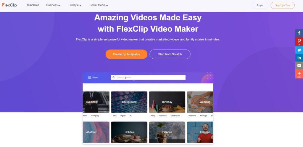Flexclip homepage