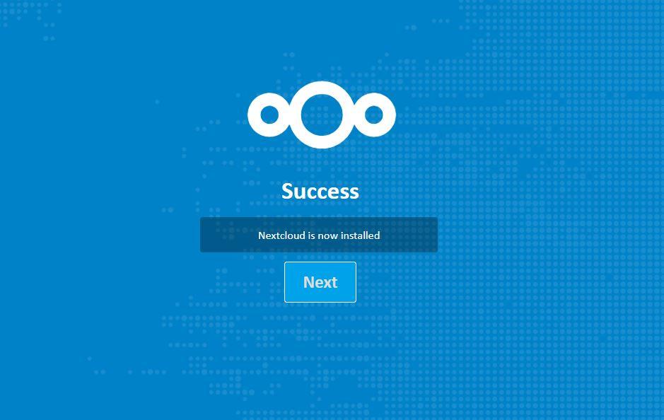 NextCloud installation success
